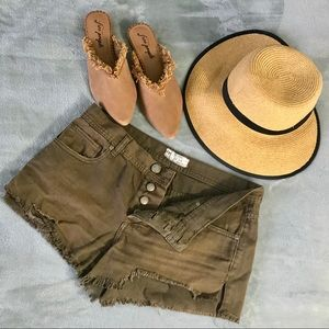 Free People Olive Boho Shorts